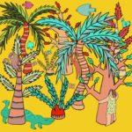 Stylizowana ilustracja Hanny Tricoire przedstawiająca kobietę w kolorowej dżungli na żółtym tle. Kobieta przytula drzewo, między drzewami widać krokodyla, małpę, węża, jelenia, ptaki i motyle.